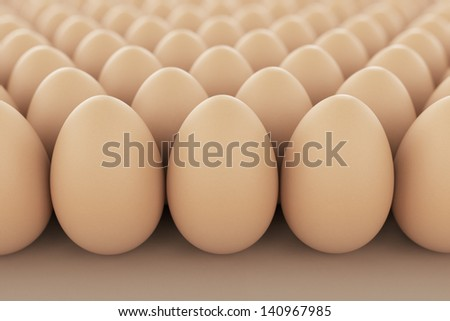 Image of brown eggs arranged in rows. Perfect for anything related to healthy food, easters, eggs production and food industry in geneneral. - stock photo