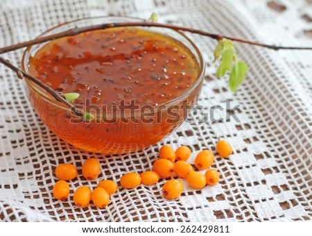 Image of buckthorn jam as healthy and tasty dessert - stock photo