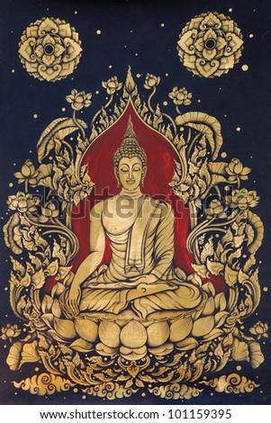 Image of buddha drawing - stock photo