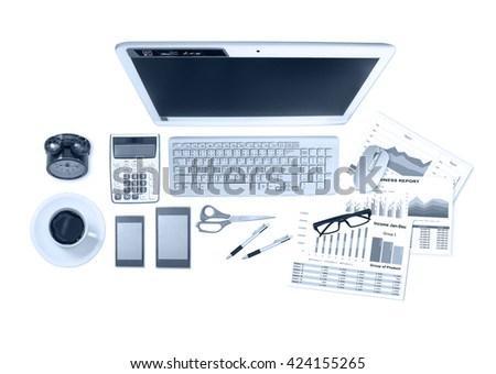 image of business and financial report on white background