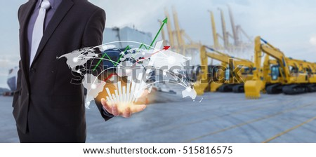 Image of business concept on growing global network coverage world map , Logistics Import Export Tracts vehicle at harbor background (Elements of this image furnished by NASA)
