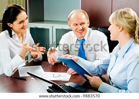 Image of business discussion of a new project at meeting - stock photo