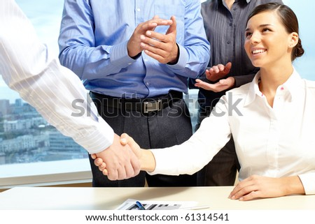 Image of business handshake after making an agreement - stock photo