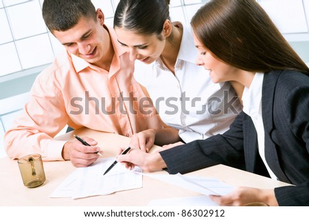 Image of business people discussing plan at meeting - stock photo