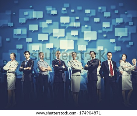 Image of business people group against conceptual background - stock photo