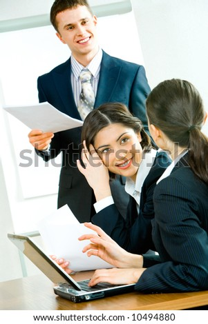 Image of business people interacting at working briefing - stock photo