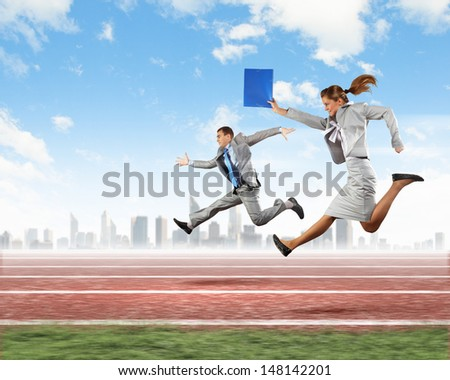 Image of business people running on tracks. Competition concept - stock photo