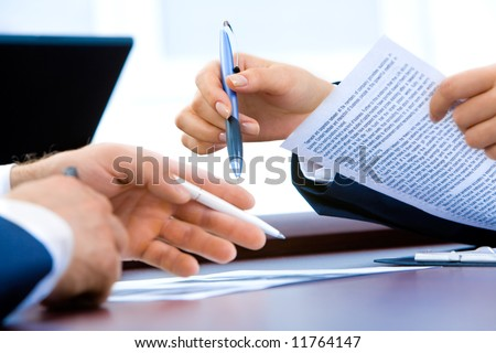 Image of business people's hands during teamwork - stock photo