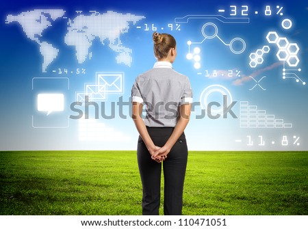 Image of business person with digital symbols