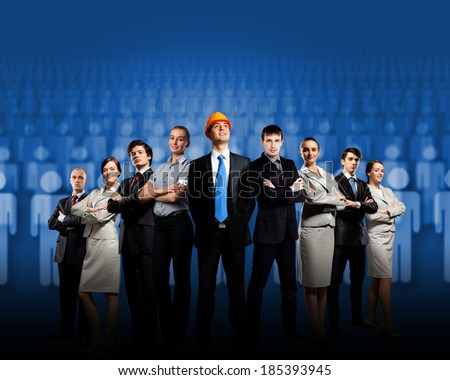 Image of business team standing in line. Cooperation and interaction - stock photo