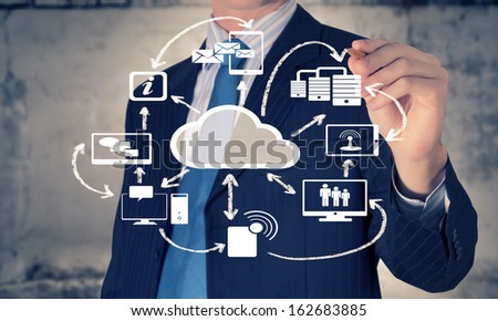 Image of businessman drawing business plan. Computing concept - stock photo