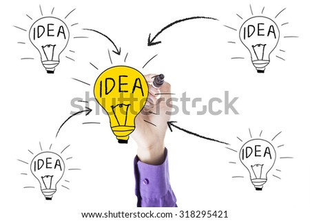 Image of businessman hand using marker and drawing light bulb with idea concept - stock photo