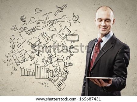 Image of businessman holding tablet. Collage drawings