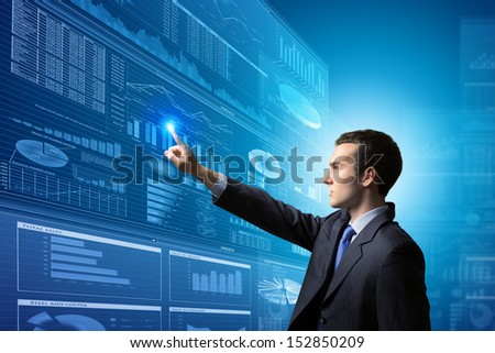 Image of businessman pushing icon of media screen. Marketing concept - stock photo