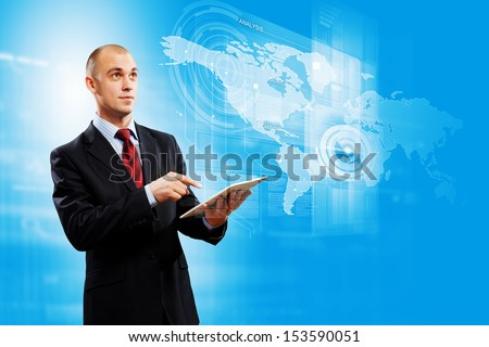 Image of businessman with tablet pc against media background