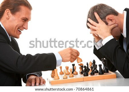 Image of businessmen playing in chess - stock photo