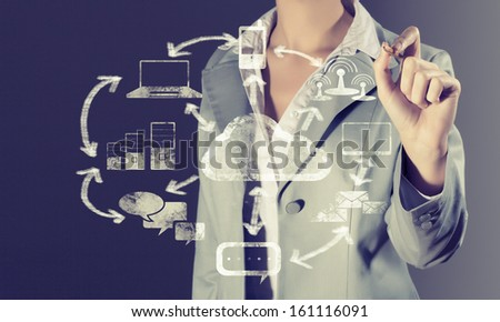 Image of businesswoman drawing business strategy plan - stock photo