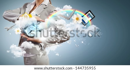 Image of businesswoman holding alarmclock against illustration background. Collage - stock photo