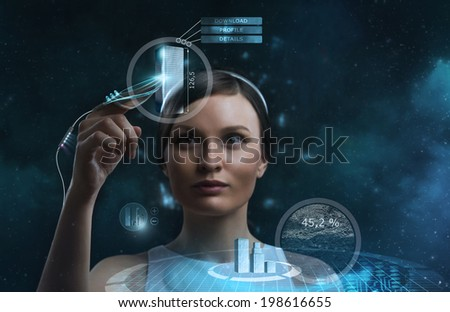 Image of businesswoman of the future working with media screen