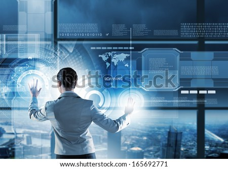 Image of businesswoman pushing icon on media screen - stock photo