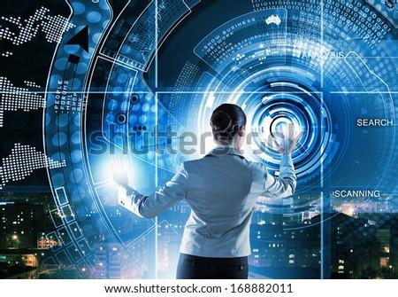 Image of businesswoman pushing icon on media screen - stock photo