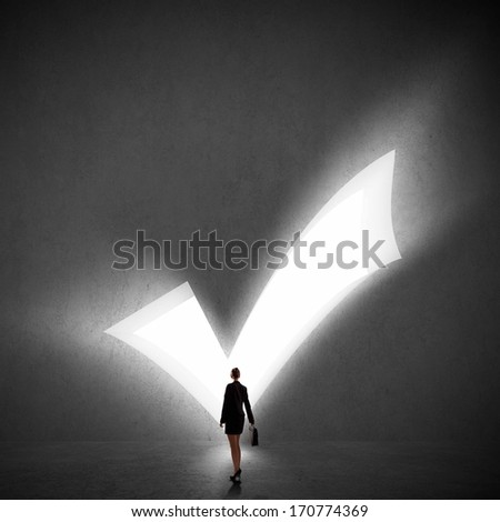 Image of businesswoman silhouette standing with back