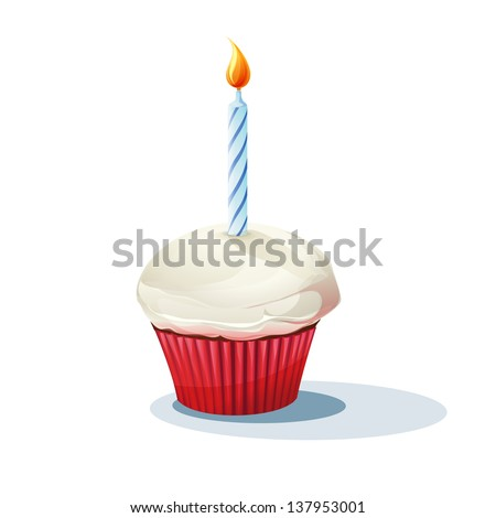 Image of cake with a candle. Raster copy.