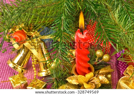 image of candles and different Christmas decorations closeup
