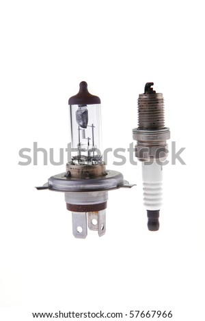 image of car headlight lamp and candle - stock photo