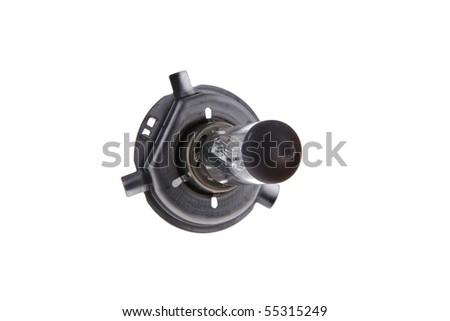 image of car headlight lamp on white background - stock photo