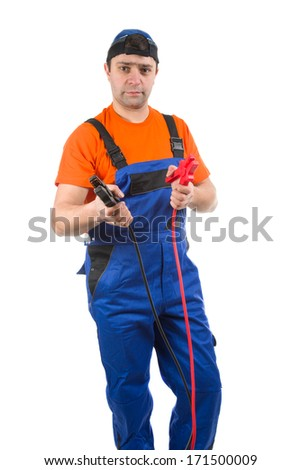 image of  car mechanic with battery jumper cables