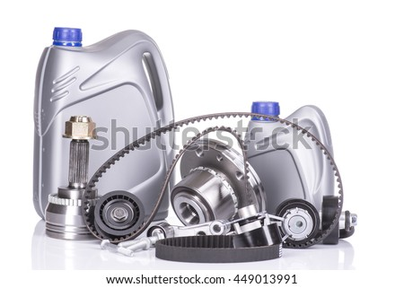 Image of Car spare parts isolated on white - stock photo
