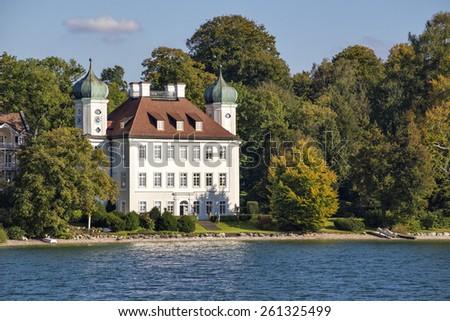 Image of castle Pocci on lake Starnberg in Bavaria, Germany - stock photo