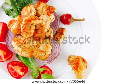 image of chicken meat and vegetables on plate