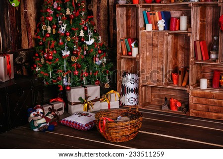 Image of chimney and decorated xmas tree with gift - stock photo