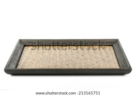 Image of Chinese bamboo woven tray on white background - stock photo