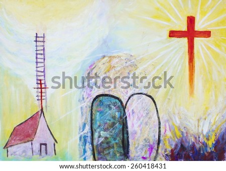image of christian icon that show Jesus cross had has victory over the hell and the tomb, Jesus said he build his church and he is the way to heaven - stock photo