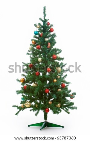 Image of Christmas fir tree decorated with red and golden toy balls - stock photo