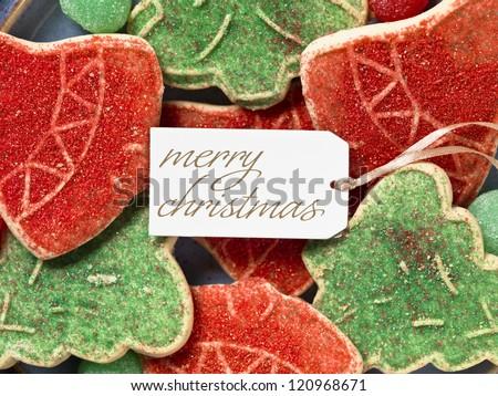 Image of christmas tag with christmas cookies - stock photo