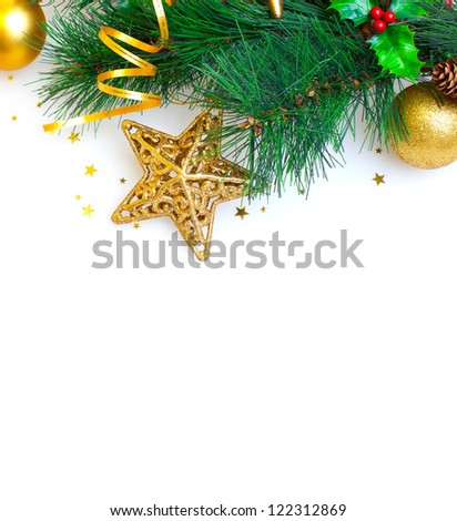 Image of Christmas tree border, Christmastime greeting card, branch of evergreen tree with star toy and red berry isolated on white background, New Year decoration, xmas ornament - stock photo