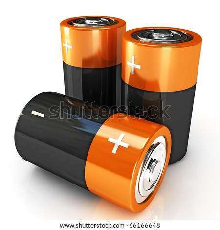image of classic battery on white background - stock photo