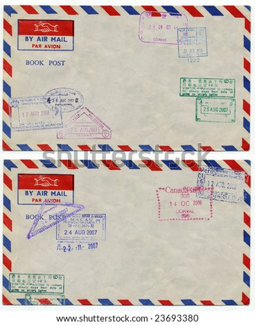 image of classic vintage air mail envelope with stamp - stock photo
