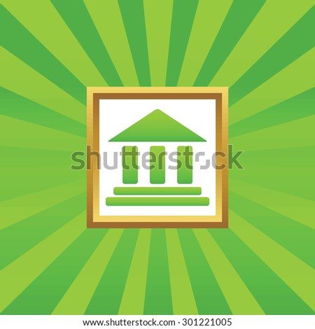 Image of classical building with pillars in golden frame, on green abstract background - stock photo