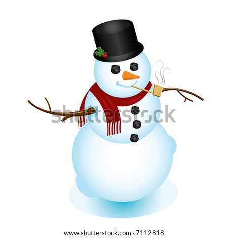 Image of classy snowman, complete with red scarf, top hat, and pipe. Perfect for any Christmas or winter project.