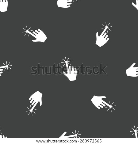 Image of clicking finger repeated on grey background - stock photo