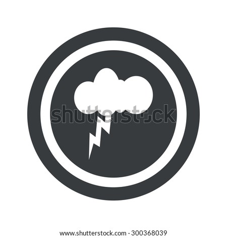 Image of cloud with lightning in circle, on black circle, isolated on white - stock photo