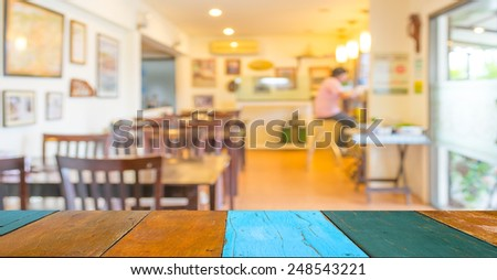 image of Coffee shop blur background with bokeh. - stock photo
