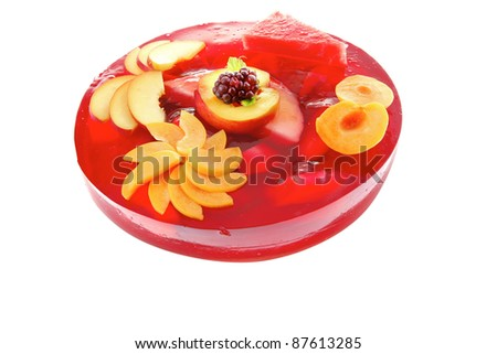 image of cold red jelly cake with nectarine and peach - stock photo
