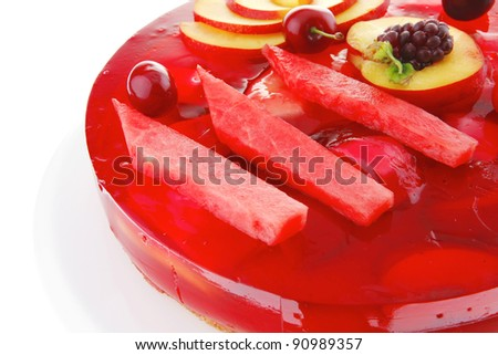 image of cold red jelly pie with apricot and watermelon