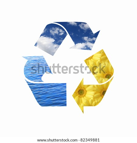 image of colorful eco symbol consisting of three arrows in circle - stock photo